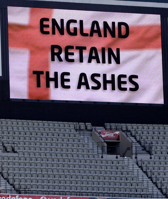 A video screen displays the result at the end of the fourth day of the fourth Ashes Test at the MCG in Melbourne. England won by an innings an 157 runs and retain the Ashes. (AP Photo)