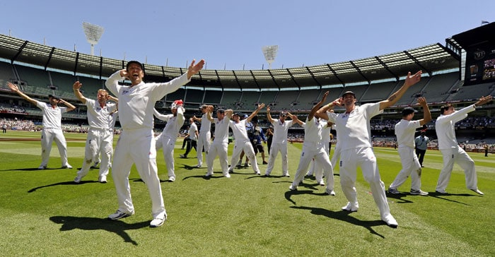 England players perform sprinkle dance after winning on the fourth day of the fourth Ashes Test match against Australia at the Melbourne Cricket Ground in Melbourne. (AP Photo)