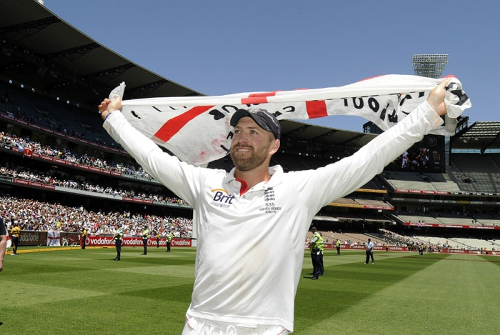 England's Matt Prior celebrates after his team winning the fourth Ashes Test against Australia at the MCG in Melbourne. (AP Photo)