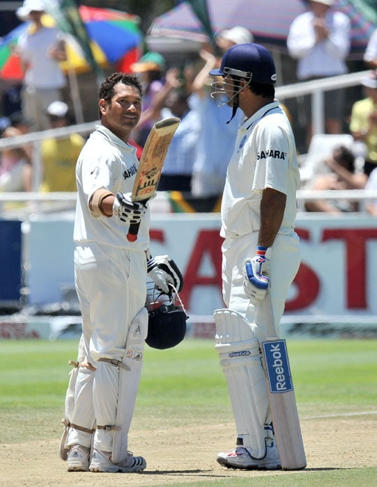 Indian cricketer Sachin Tendulkar celebrates his 51st century during the third day of the third and final Test against India at Newlands Stadium in Cape Town. (AFP Photo)