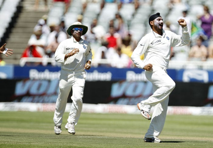 Harbhajan Singh reacts after taking the wicket of Hashim Amla during the third Test against South Africa played in Cape Town. (AP Photo)