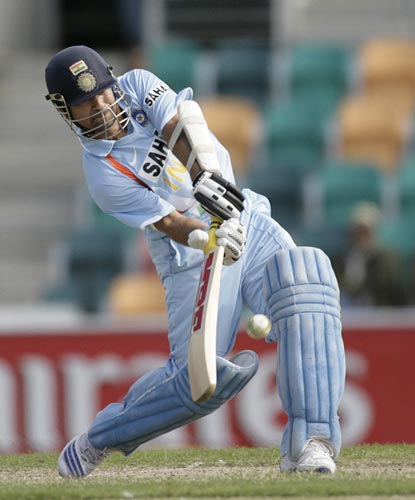 Sachin Tendulkar plays a shot during their tri-series One-Day International match against Sri Lanka in Hobart on Tuesday, February 26, 2008. India are chasing 180 runs for victory.