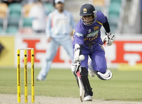 Jayasuriya runs between the wickets during their tri-Series One-Day International match against India in Hobart on Tuesday, February 26, 2008.