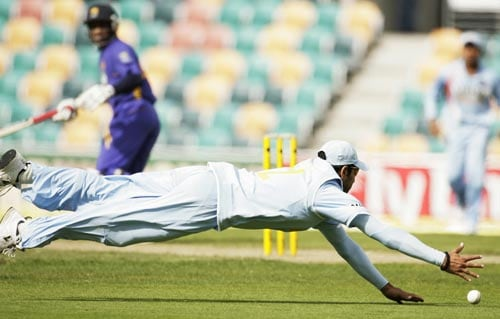 Yuvraj Singh dives for a catch during their tri-series One-Day International match against Sri Lanka in Hobart on Tuesday, February 26, 2008.