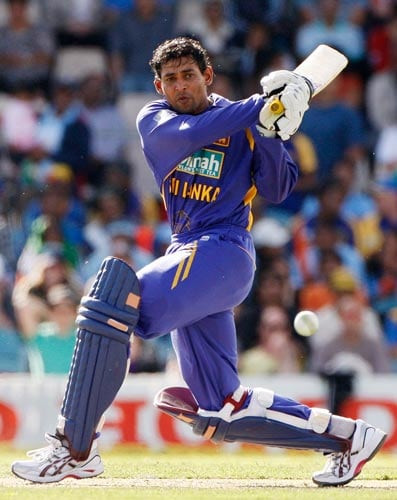 Tillakaratne Dilshan in action during their One-Day cricket international against India in Canberra on Tuesday, February 12, 2008.