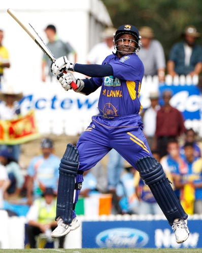 Sanath Jayasuriya in action during their One-Day cricket international against India in Canberra on Tuesday, February 12, 2008.