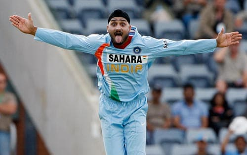 Harbhajan Singh reacts towards Sri Lankan supporters after taking a wicket during their One-Day cricket international in Canberra on Tuesday, February 12, 2008.