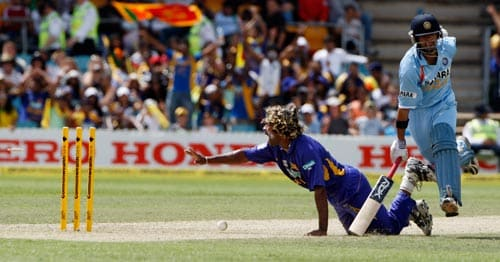 Lasith Malinga, left, appeals successfully for a run out of Indian batsman Gautam Gambhir, right, during their One-Day cricket international in Canberra on Tuesday, February 12, 2008.
