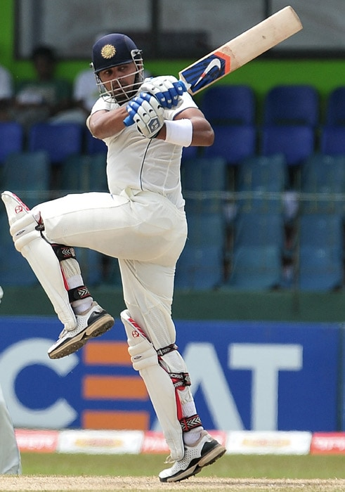 Murali Vijay plays a stroke during the third day of the second Test match between Sri Lanka and India at The Sinhalese Sports Club Ground. (AFP Photo)