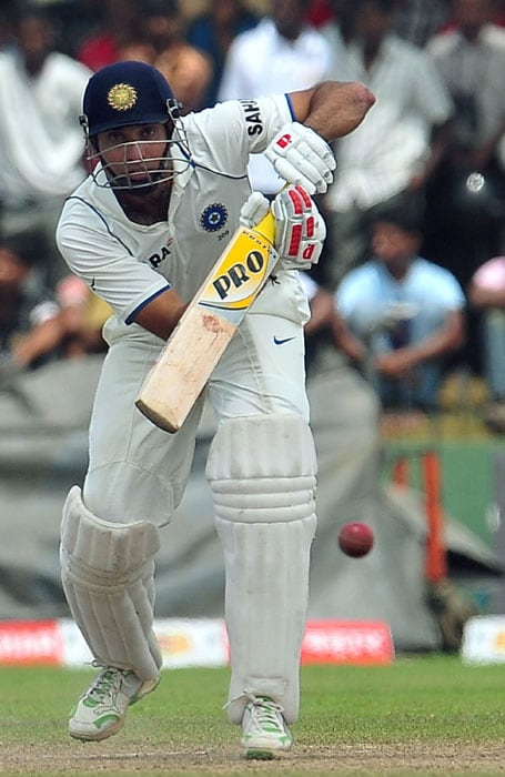 Indian cricketer VVS Laxman plays a stroke during the fifth day of the first Test match between Sri Lanka and India at The Galle International Cricket Stadium.. (AFP Photo)