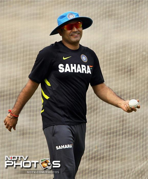Indian opener Virender Sehwag at the practice session in Chennai. (PTI Photo)