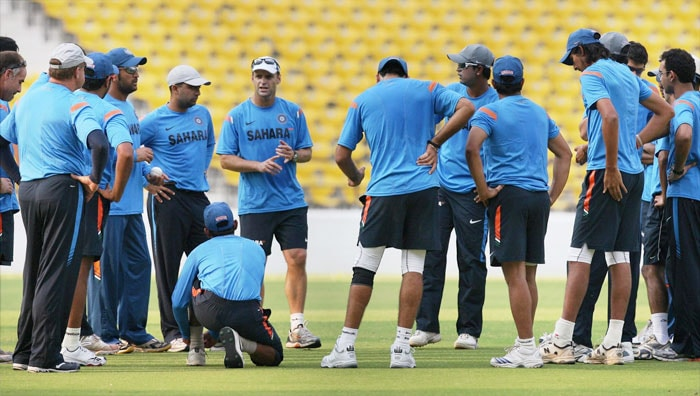 Coach Gary Kirsten interacts with teammates during a practice session at the Vidharba Cricket Ground at Jamtha in Nagpur. (PTI Photo)