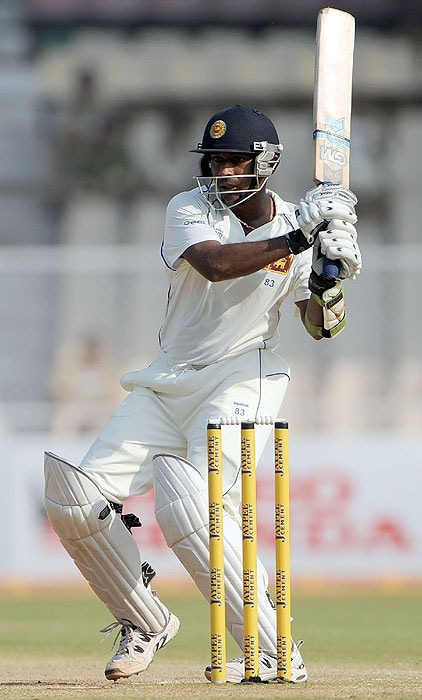 Sri Lanka's Prasanna Jayawardene plays a shot on the fourth day of the first Test match against India at the Motera stadium in Ahmedabad on Thursday. (AFP Photo)