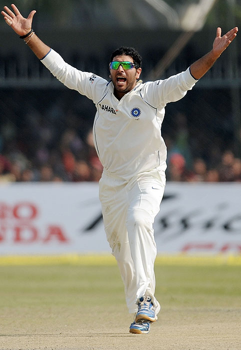 India's Yuvraj Singh appeals on the fourth day of the second Test match against Sri Lanka at the Green Park Stadium in Kanpur on Friday. (AFP Photo)