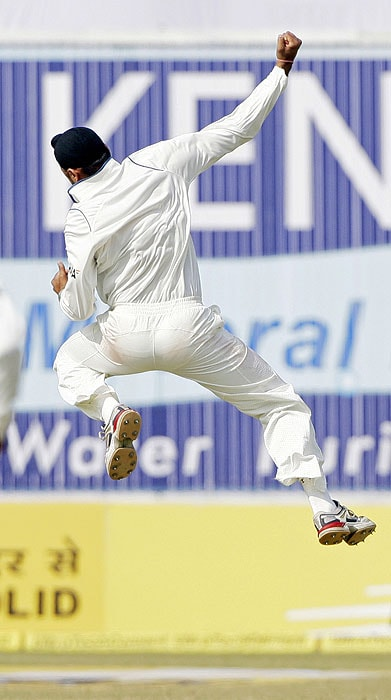 India's Harbhajan Singh celebrates the dismissal of Sri Lanka's Prasanna Jayawardene during the fourth day of their second Test match in Kanpur on Friday. (AP Photo)