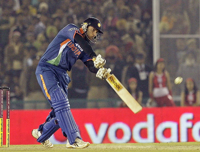 India's Yuvraj Singh hits a six during the second Twenty20 match against Sri Lanka in Mohali on Saturday. (AP Photo)