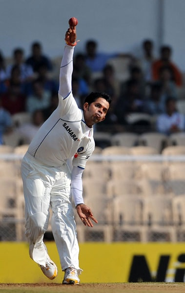 S Sreesanth bowls on the first day of the third Test between India and Sri Lanka in Mumbai. (AFP Photo)