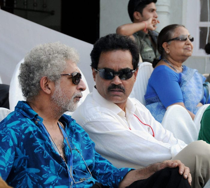 Former cricketer Dilip Vengsarkar along with Bollywood actor Naseeruddin Shah on the fourth day of the third Test match between India and Sri Lanka at Brabourne Stadium in Mumbai. (PTI Photo)