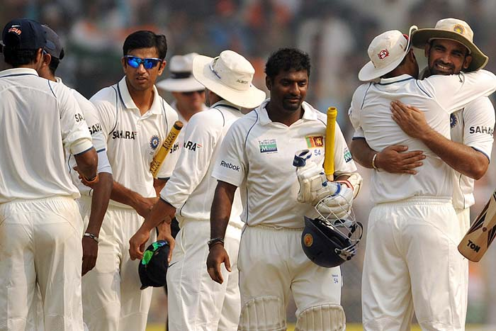Indians celebrate winning on the final day of the third Test against Sri Lanka in Mumbai on Sunday. (AFP Photo)