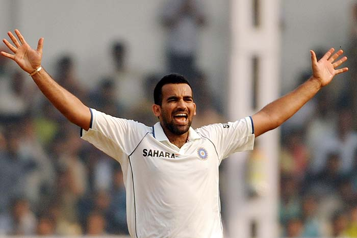 India's Zaheer Khan celebrates taking a wicket on the final day of the third Test against Sri Lanka in Mumbai on Sunday. (AFP Photo)