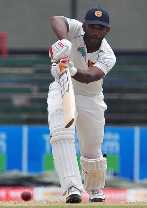 Tharanga Paranavitana plays a shot during the first day of the second Test match between Sri Lanka and India in Colombo. (AFP Photo)