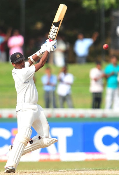 Thilan Samaraweera plays a stroke during the second day of the second Test match between Sri Lanka and India in Colombo. (AFP Photo)
