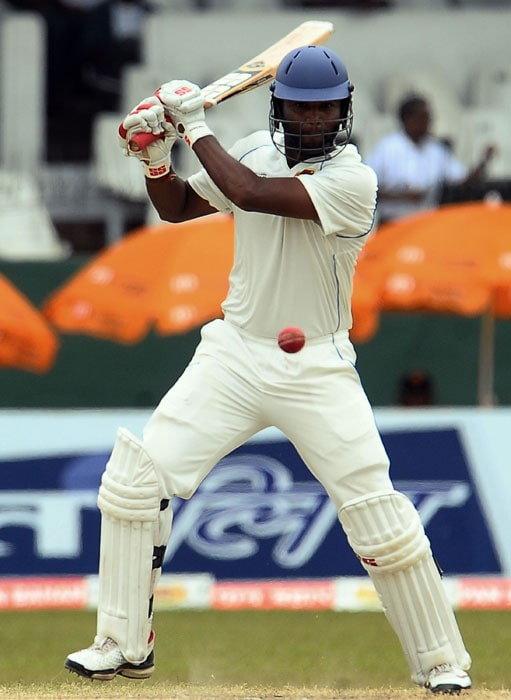 Tharanga Paranavitana plays a stroke during the fifth and final day of the second Test match between Sri Lanka and India in Colombo. (AFP Photo)