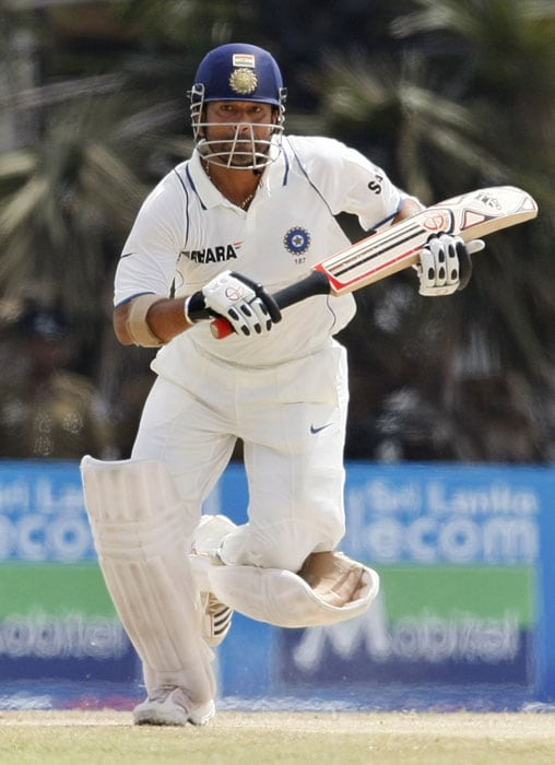 Sachin Tendulkar runs between wickets during the fifth day of the third and final Test between India and Sri Lanka in Colombo. (AP Photo)