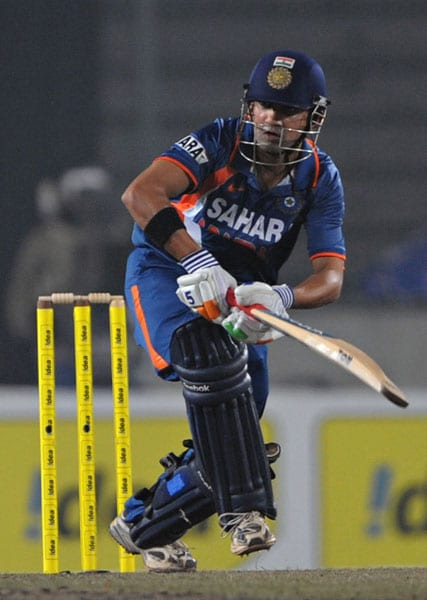 Gautam Gambhir plays a shot during the fifth ODI of the tri-series in Dhaka. (AFP Photo)