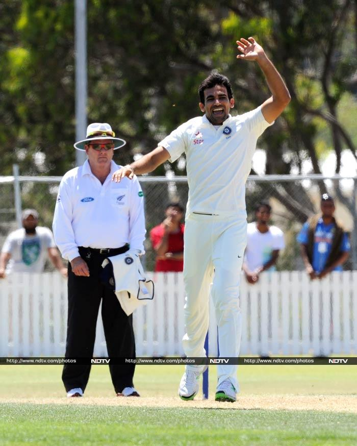 All eyes were on veteran Zaheer Khan and he did not disappoint. <br><br>He took a wicket.