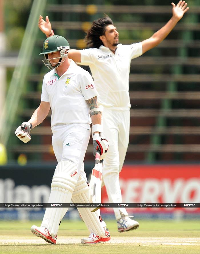 Earlier, Ishant Sharma (in pic) and Zaheer Khan were responsible for bundling South Africa out on 244.
