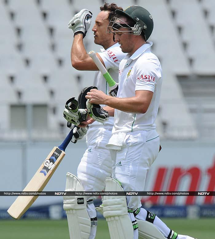 South Africa's biggest stars of the day were Faf du Plessis (left) and AB de Villiers who hit centuries to carry their team to the cusp of a win.