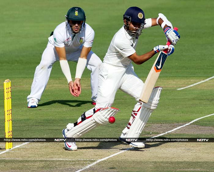 Ajinkya Rahane looked set to complete his maiden Test fifty but he too could not stay for long.