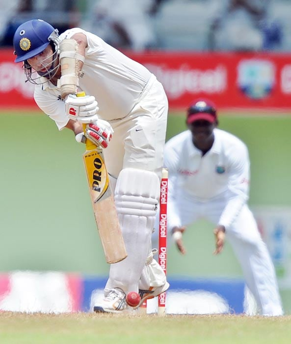 VVS Laxman plays a shot during the third day of third and final Test match between India and West Indies at the Windsor Park Stadium in Roseau, Dominica. (AFP Photo)