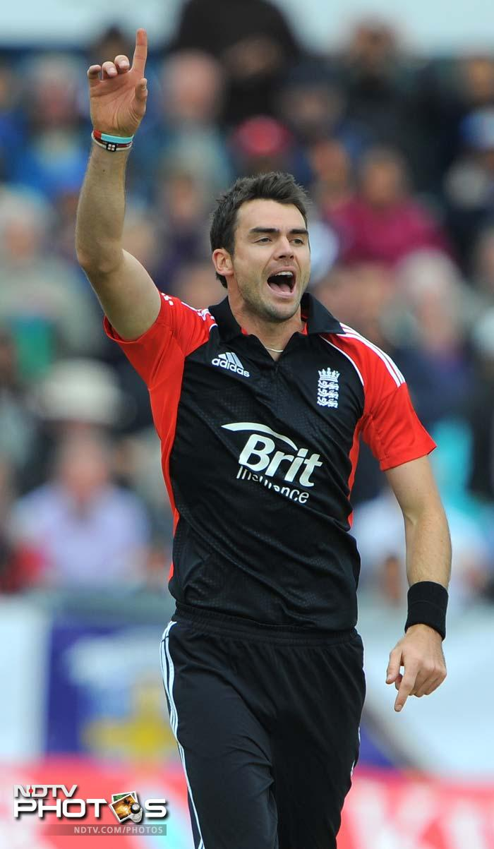 James Anderson, who finally got rid of Parthiv, completed 200 wickets in ODIs with that scalp. (AFP Photo)