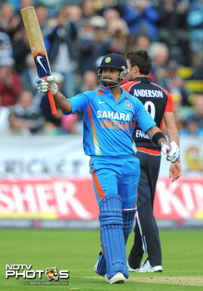 Virat Kohli struck his 16th ODI fifty and put up a 103-run partnership with Parthiv Patel for the 3rd wicket. (AFP Photo)
