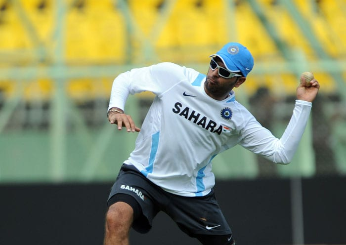 Yuvraj Singh fields a ball during a net practice session ahead of the second One Day International (ODI) cricket match between India and Australia. (AFP Photo)