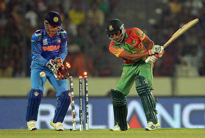 Amit Mishra, who has been in splendid form with the ball, cleaned up Anamul Haque.