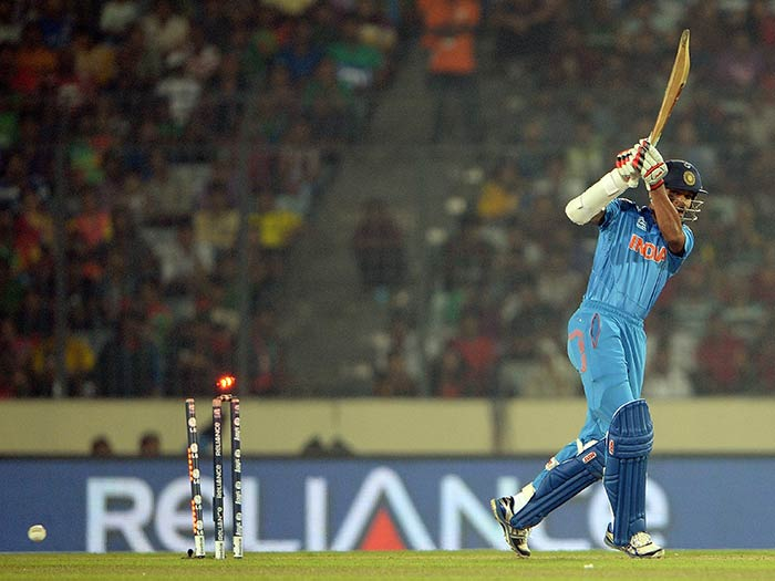 In reply, Shikhar Dhawan was dismissed early by Al-Amin Hossain.