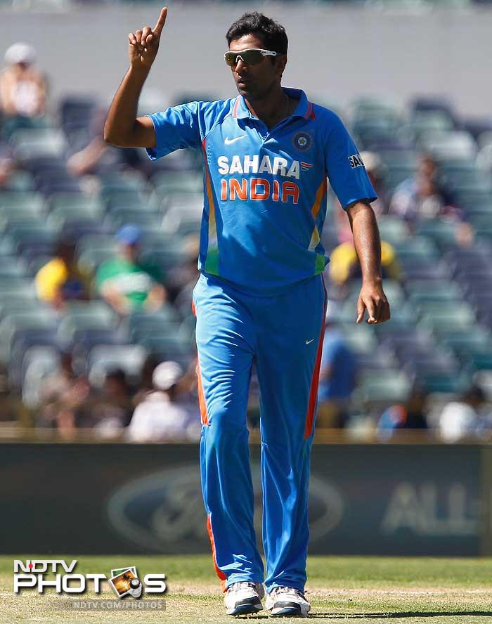 R Ashwin celebrates one of his three wickets in the day. He went on to score 30 runs and was declared man-of-the-match.