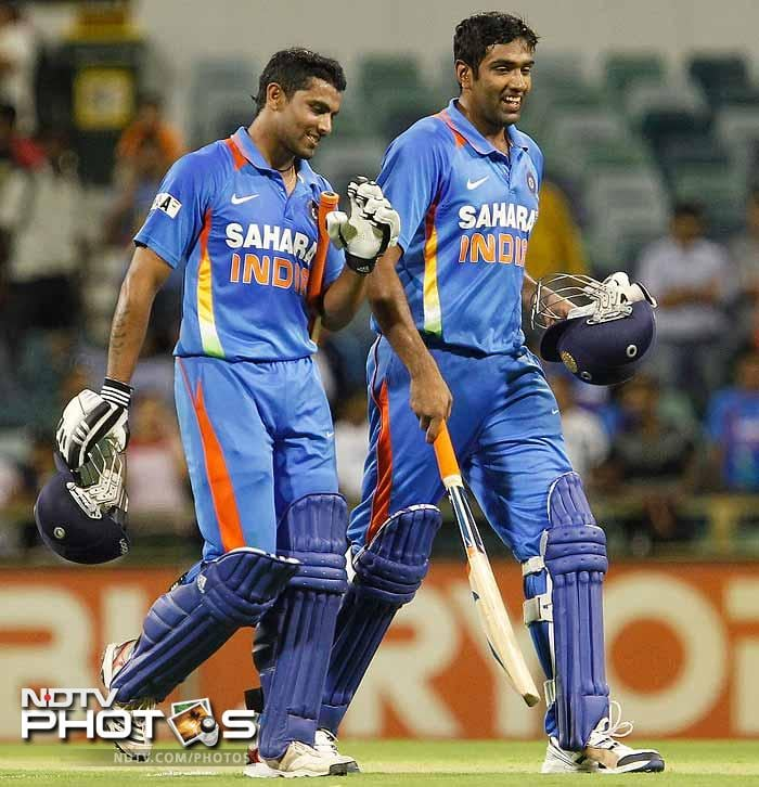 There was no heavy damage though as Ravindra Jadeja (l) and Ashwin took India home with 4 wickets to spare.