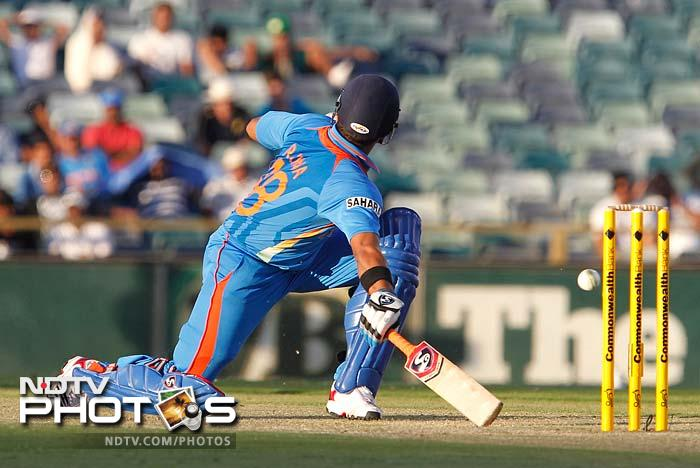 Suresh Raina is seen in action here as he went on to score 24 runs in the chase.
