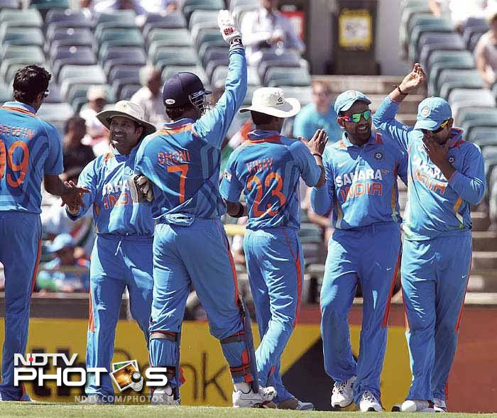 India defeated Sri Lanka in the second match of the tri-nation series Down Under. It was however, a match well-contested by both sides and was eventually won with 20 balls to spare. A look at some of the highlights. (AFP and AP images)