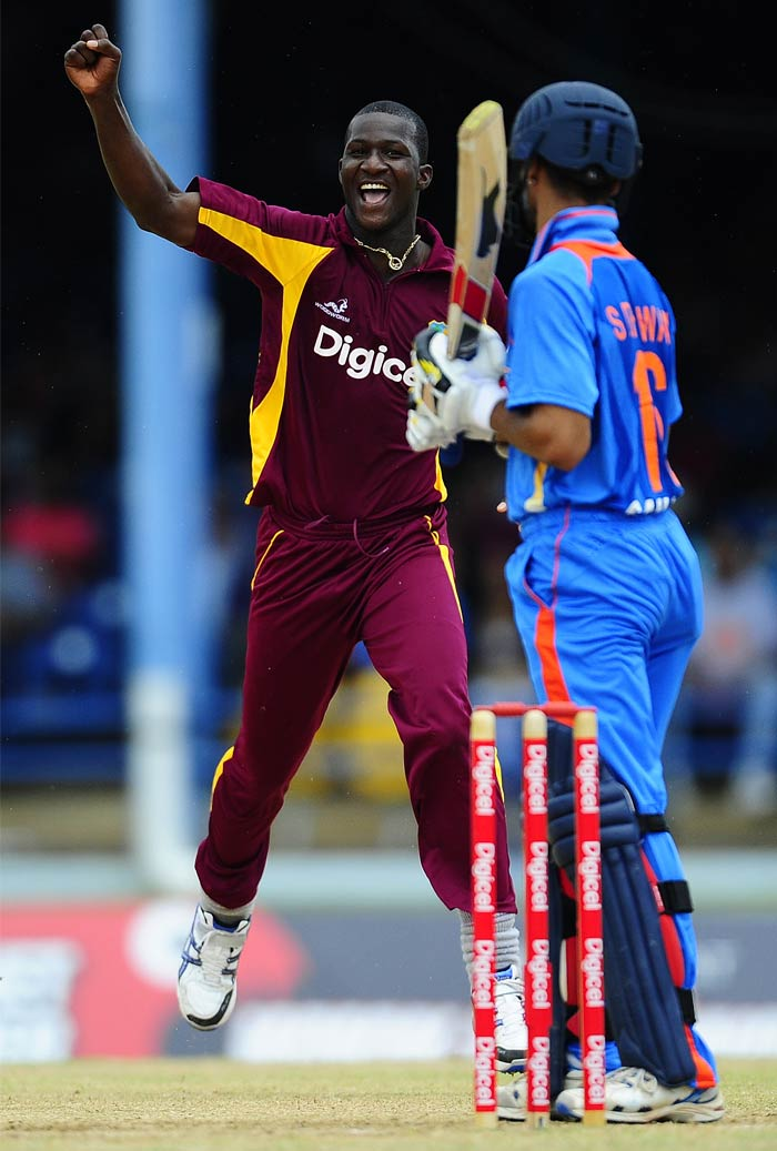 Shikhar Dhawan became the first victim of the West Indies skipper and was dismissed on a personal score of 5 in the third over.