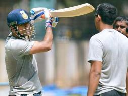 Photo : Mahendra Singh Dhoni Gets a Decent Hit on Second Day of Practice