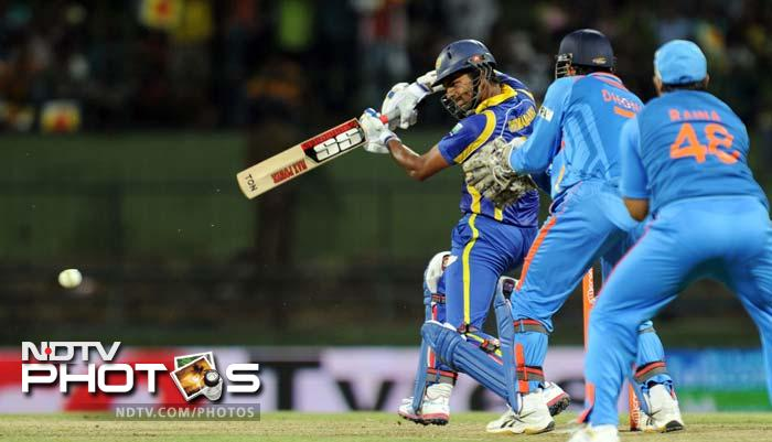 Lahiru Thirimanne plays a shot for Sri Lanka once the chase began. He scored 77.