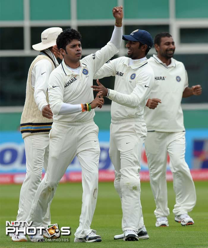 The day began on a good note for the visitors as a charged Sreesanth removed Andrew Strauss before the England skipper could do much damage.