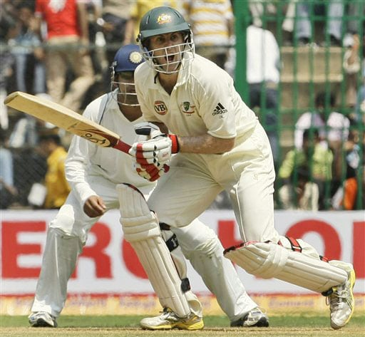 Simon Katich reacts as he plays a shot on the first day of the first Test between India and Australia in Bangalore.