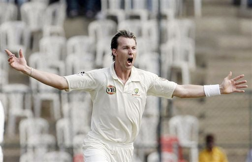 Brett Lee celebrates after dismissing Gautam Gambhir on the third day of their first Test in Bangalore.