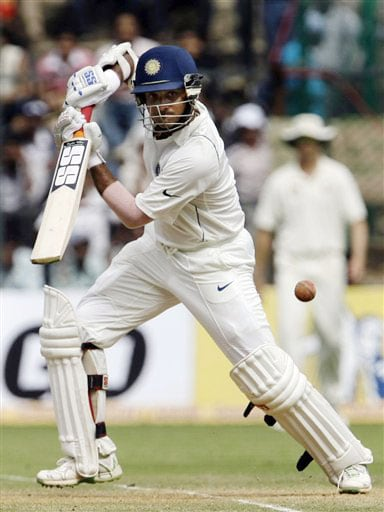 Sourav Ganguly plays a shot on the third day of the first Test in Bangalore.
